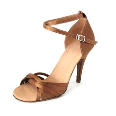 Women's Satin Heels Sandals Latin With Ankle Strap Dance Shoes (053013008)