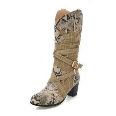 Frauen Stoff Stämmiger Absatz Stiefel Stiefel-Wadenlang mit Schnalle Schuhe (088172970)