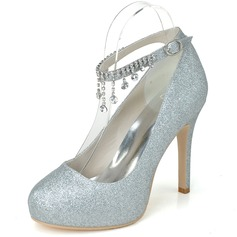 Women's Sparkling Glitter Closed Toe Platform Pumps With Rhinestone Tassel (047058257)