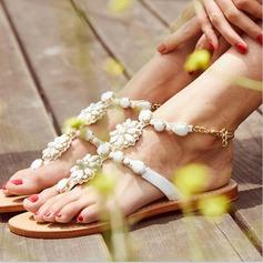 Женщины кожа Плоский каблук Сандалии Beach Wedding Shoes с Имитация Перл горный хрусталь (047125413)