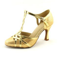 Kvinnor Konstläder Glittrande Glitter Klackar Pumps Bal med T-Rem Dansskor (053020145)