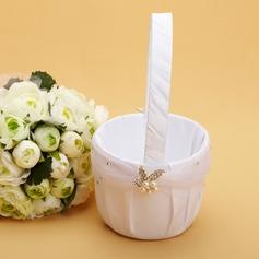 Elegante Cesto di fiori in Raso con Strass/Di faux perla (102038626)
