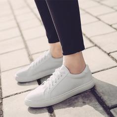Kvinner PU Flat Hæl Flate sko Lukket Tå med Blondér sko (086138671)