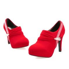 Frauen Wildleder Kätzchen Absatz Plateauschuh Stiefelette mit Strass Schnalle Geraffte Schuhe (088097462)