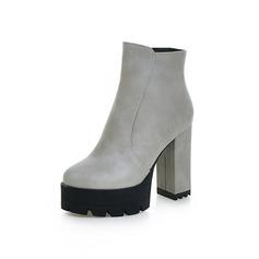 Frauen Kunstleder Stämmiger Absatz Plateauschuh Stiefelette Schuhe (088100636)