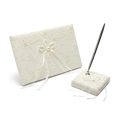 Cute Faux Pearl/Ribbons/Lace Guestbook & Pen Set (101018181)