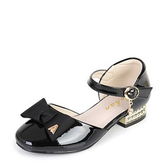 Mädchens Round Toe Geschlossene Zehe Leder niedrige Ferse Blumenmädchen Schuhe mit Bowknot Schnalle Klettverschluss (207112578)