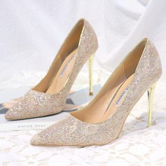 Women's Microfiber Leather Stiletto Heel Closed Toe Pumps With Sparkling Glitter Stitching Lace (047193133)