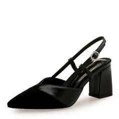 Donna Camoscio PU Tacco spesso Stiletto Punta chiusa con Fibbia scarpe (085172793)