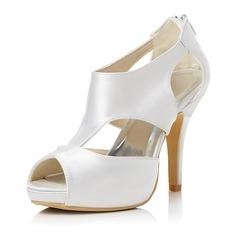 Frauen Satin Stöckel Absatz Peep Toe Sandalen mit Reißverschluss (047048005)