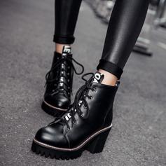 Frauen Kunstleder Stämmiger Absatz Stiefel mit Zuschnüren Andere Schuhe (088109395)