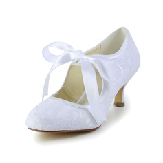 Vrouwen Kant Satijn Spool Hak Closed Toe Pumps met Ribbon Tie (047004932)