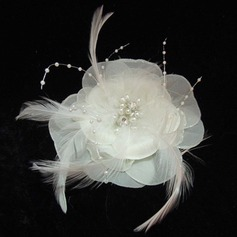 Glamourous Pearl Feather Chiffon Flowers Headpiece (042025403)