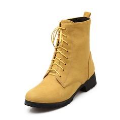 Frauen Wildleder Niederiger Absatz Geschlossene Zehe Stiefelette Martin Stiefel mit Zuschnüren Schuhe (088069838)