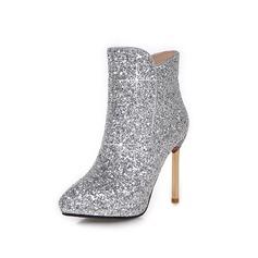 Frauen Funkelnde Glitzer Stöckel Absatz Stiefelette Schuhe (088097110)