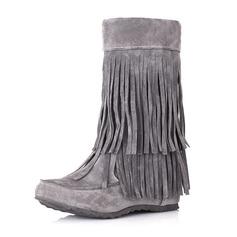 Frauen Veloursleder Keil Absatz Geschlossene Zehe Stiefel Stiefelette Stiefel-Wadenlang mit Quaste Schuhe (088170991)