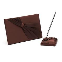 Schokolade Schleifenbänder/Stoffgürtel Gästebuch & Schreibset (101018176)