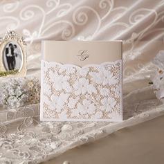 Personalizzato Stile Floreale Wrap & Pocket Invitation Cards con Perline (Set di 50) (114042962)