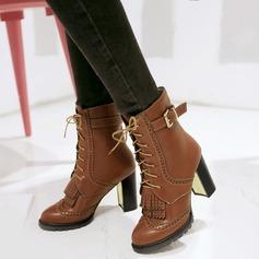 Frauen Kunstleder Stämmiger Absatz Stiefel mit Schnalle Reißverschluss Quaste Schuhe (088109563)