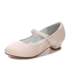 Mädchens Round Toe Geschlossene Zehe Mary Jane Seide wie Satin niedrige Ferse Blumenmädchen Schuhe mit Strass Klettverschluss (207202099)