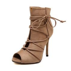 Frauen Wildleder Stöckel Absatz Stiefel Peep Toe Stiefelette mit Zuschnüren Schuhe (088111791)