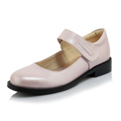 Women's Leatherette Low Heel Flats Closed Toe With Velcro shoes (086095284)