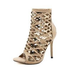 Frauen Veloursleder PU Stöckel Absatz Absatzschuhe Stiefel Peep Toe Stiefelette mit Reißverschluss Hohl-out Schuhe (088151860)