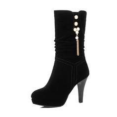 Frauen Veloursleder Stöckel Absatz Absatzschuhe Plateauschuh Stiefel Stiefel-Wadenlang mit Strass Quaste Schuhe (088143740)