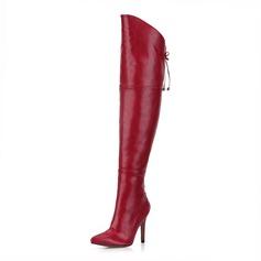 Frauen Kunstleder Stöckel Absatz Absatzschuhe Geschlossene Zehe Stiefel Stiefel über Knie mit Zuschnüren Schuhe (088095451)