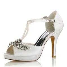 Femmes Soie comme du satin Talon stiletto Plateforme Escarpins Sandales avec Cristal (047187712)
