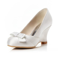 Women's Satin Wedge Heel Closed Toe Pumps Wedges With Bowknot (047048016)
