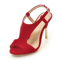 Donna Camoscio Tacco a spillo Sandalo Stiletto Punta aperta Con cinturino con Fibbia scarpe (087168427)