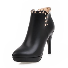 Frauen PU Stöckel Absatz Absatzschuhe Plateauschuh Geschlossene Zehe Stiefel Stiefelette mit Niete Reißverschluss Schuhe (088143636)