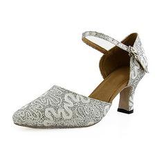Kvinnor Glittrande Glitter Klackar Pumps Bal med Sotled Rem Dansskor (053013026)