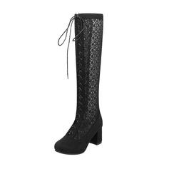 Donna Similpelle Tacco spesso Stivali Stivali al ginocchio scarpe (088175364)
