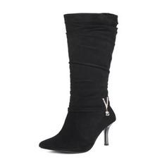 Frauen Veloursleder Stöckel Absatz Absatzschuhe Stiefel Kniehocher Stiefel mit Strass Andere Schuhe (088190932)