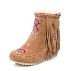 Frauen Veloursleder Flascher Absatz Flache Schuhe Geschlossene Zehe Stiefel Stiefelette Schneestiefel mit Quaste Andere Schuhe (088126565)