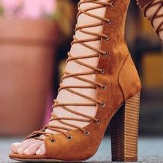 Donna Similpelle Tacco spesso Stiletto Punta aperta con Allacciato scarpe (087171524)