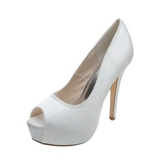 Women's Satin Stiletto Heel Peep Toe Platform Pumps (047053929)