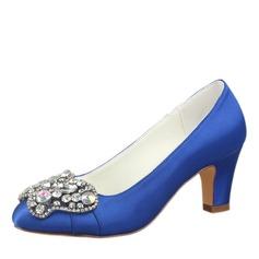 Vrouwen zijde als satijn Stiletto Heel Closed Toe Pumps met Kristal (047187717)