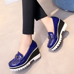 Women's Patent Leather Wedge Heel Closed Toe Wedges With Buckle shoes (086119372)