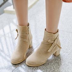 Frauen Veloursleder Stämmiger Absatz Absatzschuhe Stiefel Stiefelette mit Bowknot Reißverschluss Schuhe (088151099)