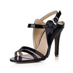 Women's Patent Leather Stiletto Heel Sandals Pumps Peep Toe Slingbacks With Buckle shoes (087042778)