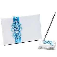 Teal Scroll Fusciacche Guestbook & Set di penne (101018164)