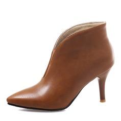 Donna Similpelle Tacco a spillo Stiletto Punta chiusa Stivali Stivali alla caviglia con Fascia di gomma scarpe (088176510)