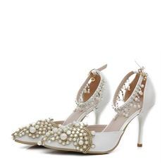 Kvinder Kunstlæder Stiletto Hæl Lukket Tå Pumps sandaler Mary Jane med Spænde Imiteret Pearl (047144245)