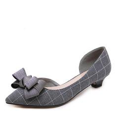 Donna Panno Tacco basso Stiletto Punta chiusa con Fibbia scarpe (085175376)