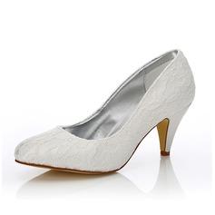 Frauen Lace Satin Kegel Absatz Geschlossene Zehe Absatzschuhe Färbbare Schuhe (047088652)