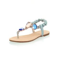 Kunstleer Flat Heel Sandalen Flats met Strass schoenen (087047259)