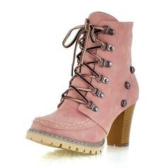 Frauen Kunstleder Stämmiger Absatz Absatzschuhe Geschlossene Zehe Stiefel Stiefelette mit Zuschnüren Schuhe (088100589)